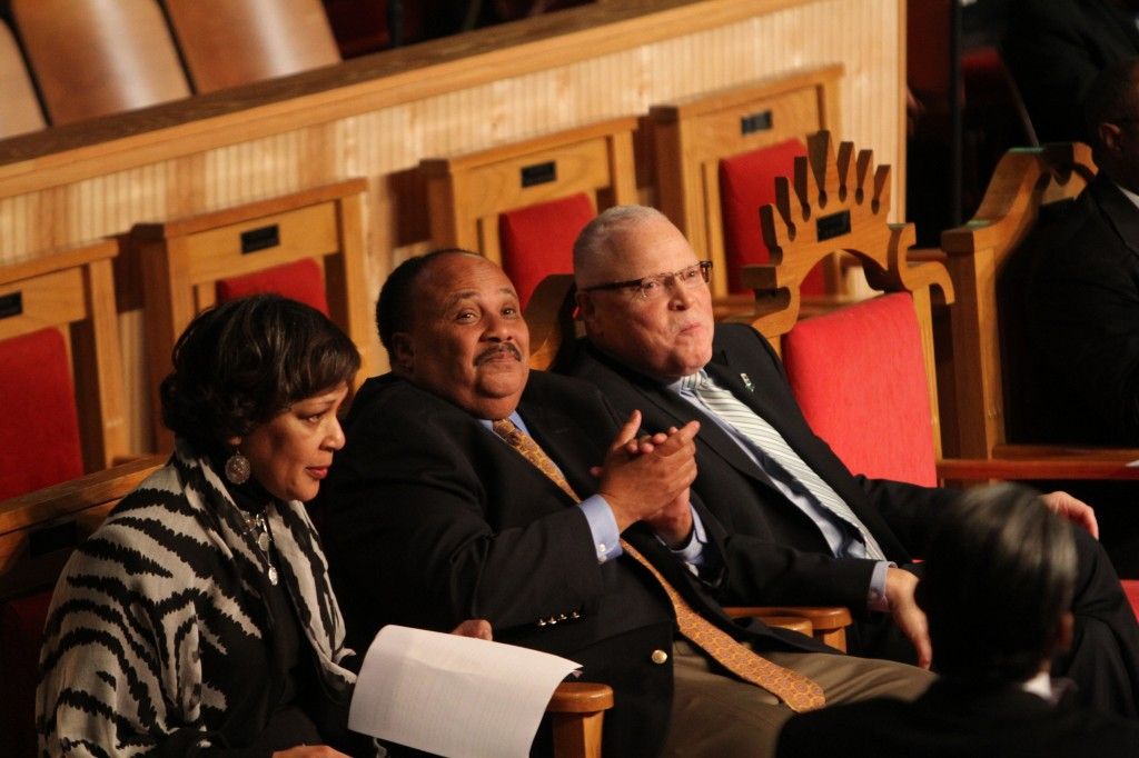 Martin Luther King III (center) with Arlene Holt Baker, AFL-CIO executive vice president, and Lee Saunders, AFSCME president. (Photo by Warren Roseborough)