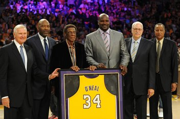 Apr 2, 2013; Los Angeles, CA, USA;   From left to right, Los Angeles Lakers former members Jerry West, and James Worthy, and Elgin Baylor, and Phil Jackson and Jamal WIlkes join Shaquille O'Neal for a ceremony to retire his jersey during halftime of the game against the Dallas Mavericks at the Staples Center. Mandatory Credit: Jayne Kamin-Oncea-USA TODAY Sports
