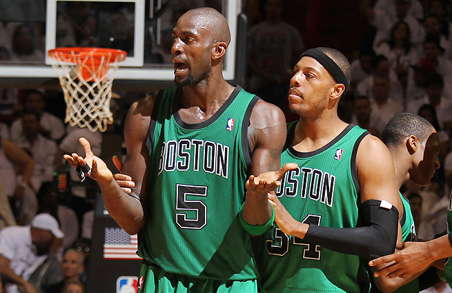 Kevin Garnett (left) has hinted at retirement before. Will he finally hang it up this summer? [Walter Iooss Jr./SI]
