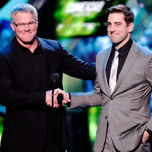 Brett Favre made a surprise joint appearance with Aaron Rodgers at the NFL Honors award ceremony earlier this year to present Peyton Manning with his Comeback Player of the Year honor. (Photo by AJ Mast/Invision/AP)