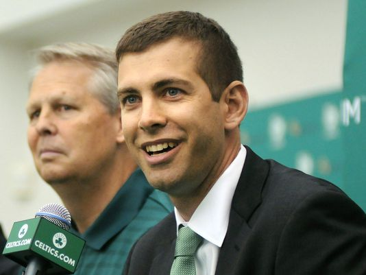 Coach Brad Stevens is introduced to the media as Celtics President Danny Ainge looks on. (Photo: Darren McCollester, Getty Images)