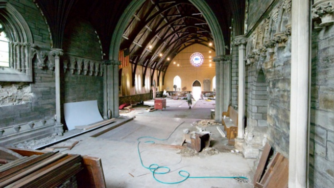 Salvage work is currently underway at St. Peter's Episcopal Church, which will soon be home to the Waldorf School after sitting vacant since 2005.