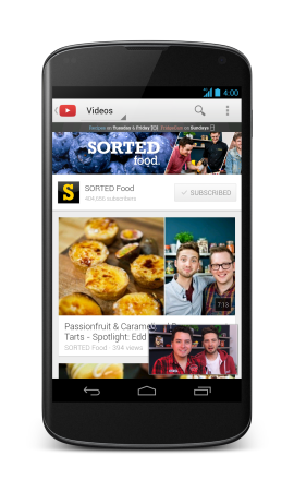 The new YouTube app for Android lets you minimize and play videos while browsing for your next one. (Credit: Google)