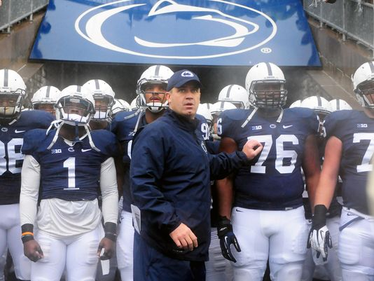 Penn State Nittany Lions coach Bill O'Brien (center) leads his team on to the field prior to the game against the Kent State Golden Flashes at Beaver Stadium. (Photo: Evan Habeeb, USA TODAY Sports)