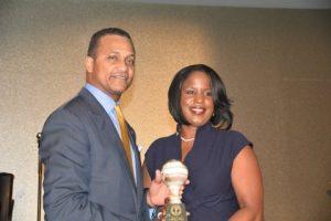 NNPA Chairman Cloves Campbell presents NAACP Board Chair Roslyn Brock with with Leadership Award (NNPA Photo by Ann Ragland)