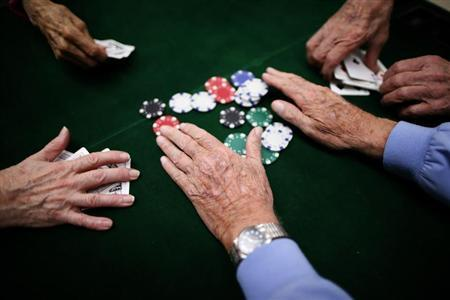 Retirees play poker at a singles club in Sun City, Arizona