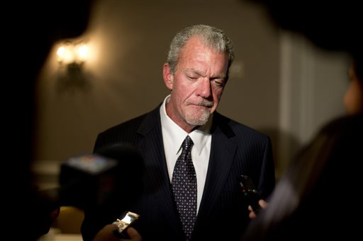 Indianapolis Colts owner Jim Irsay pauses as he speaks to reporters following the NFL owners' fall meetings in Washington, Tuesday, Oct. 8, 2013. New Orleans, Indianapolis and Minneapolis are the three finalists to host the NFL football championship game in 2018. (AP Photo/Carolyn Kaster)