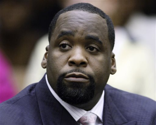 FILE - In this May 25, 2010, file photo, former Detroit Mayor Kwame Kilpatrick sits at his sentencing in Wayne County Circuit Court on an obstruction-of-justice conviction. Kilpatrick has been sentenced to 28 years in prison for corruption that turned city hall into a pay-to-play parlor. (AP Photo/Paul Sancya, File)