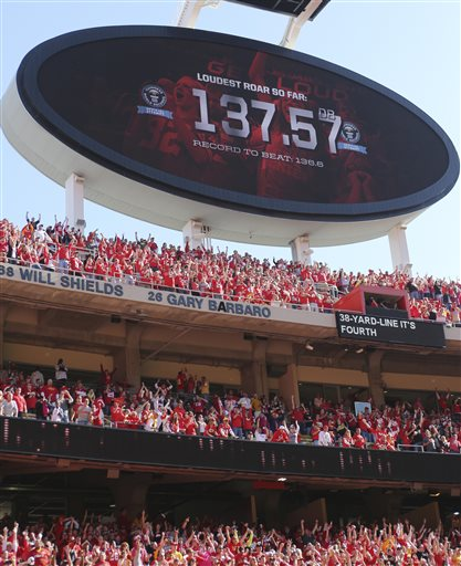 Kansas City Chiefs fans cheer while setting a world record as the loudest stadium crowd during the second half of an NFL football game against the Oakland Raiders at Arrowhead Stadium in Kansas City, Mo., Sunday, Oct. 13, 2013. Guinness World Records officials were present to confirm the record. The Chiefs defeated the Raiders 24-7. (AP Photo/Ed Zurga)