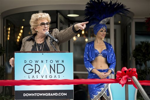 Las Vegas Mayor Carolyn Goodman addresses audience members during the ribbon-cutting ceremony of the Downtown Grand Las Vegas, located at 206 N. 3rd Street, Tuesday, Nov. 12, 2013. The urban hotel-casino, which opened in October, joins the Downtown3rd community in the former location of the Lady Luck.(AP Photo/Las Vegas Review-Journal, Samantha Clemens)