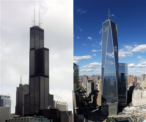 This combination made from file photos shows Willis Tower, formerly known as the Sears Tower, in Chicago on March 12, 2008, left, and 1 World Trade Center in New York on Sept. 5, 2013. The new World Trade Center tower in New York knocked Chicago's Willis Tower off its pedestal as the nation's tallest building when an international panel of architects announced Tuesday, Nov. 12, 2013, that the needle atop the skyscraper can be counted when measuring the structure's height. (AP Photos/File)