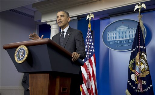President Barack Obama gestures while speaking in the James Brady Press Briefing Room of the White House in Washington, Thursday, Nov. 21, 2013. The president said he supports the move by Senate Democrats to make it harder for Republicans to block his nominees. Obama spoke shortly after the Senate voted 52-48 to weaken the power of the filibuster. The rule change will make it harder for minority Republicans to block confirmation of the president's nominees for judges and other top posts.(AP Photo/Carolyn Kaster)