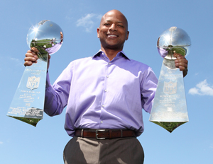 NY Giants GM Jerry Reese proudly displays his Super Bowl trophies (Image: Lonnie Major)