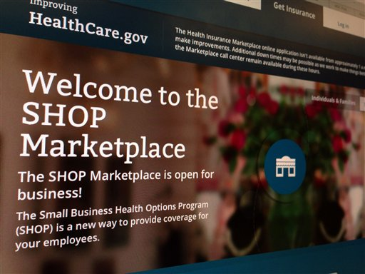 This photo of part of the HealthCare.gov website page featuring information about the SHOP Marketplace is photographed in Washington, Wednesday, Nov. 27, 2013 (AP Photo/Jon Elswick)