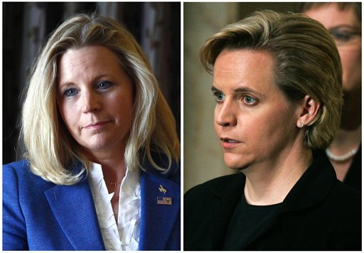 """In this July 17, 2013, file photo, Liz Cheney, left, speaks during a campaign appearance in Casper, Wyo., and her sister Mary Cheney, right, is seen in a Dec. 30, 2006, photo attending the funeral for former President Gerald Ford in Washington. Liz Cheney is running in a Republican primary for a U.S. Senate seat from Wyoming. She told """"Fox News Sunday"""" on Nov. 17, 2013, she disagrees with her sister Mary Cheney, who is married to Heather Poe, over the topic of same-sex marriage. Mary Cheney responded on Facebook: """"You're just wrong."""" (AP Photo/File)"""