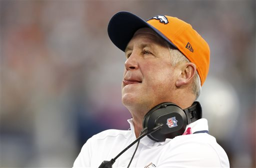 In this Oct. 6, 2013 file photo, Denver Broncos head coach John Fox watches during the first quarter of an NFL football game against the Dallas Cowboys, in Arlington, Texas. Fox needs heart surgery and will miss several weeks, team spokesman Patrick Smyth confirmed Saturday night, Nov. 2, 2013. The 58-year-old Fox will undergo aortic valve replacement surgery early next week at a hospital in Charlotte, N.C. (AP Photo/Sharon Ellman, File)