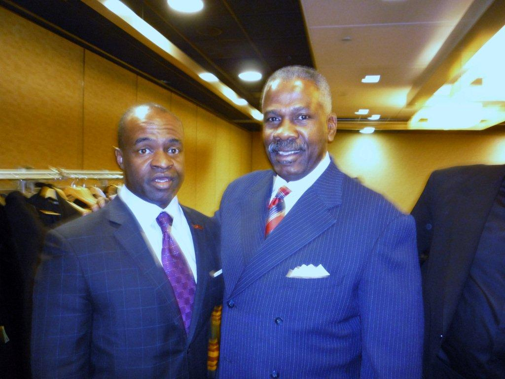 DeMaurice Smith, executive director of NFL Players Association (L), and Everett L. Glenn.
