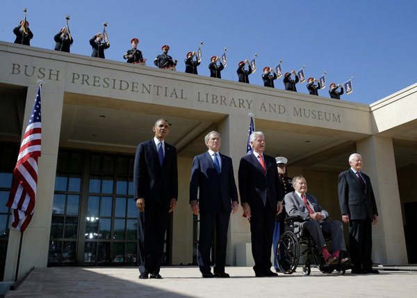 Five presidents gathered in April to dedicate George W. Bush's library and museum in Dallas. (David J. Phillip/Associated Press)