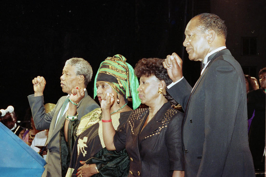 (Left to right) Nelson Mandela, Winnie Mandela, Congresswoman Maxine Waters and former Los Angeles Mayor Tom Bradley at the Los Angeles Memorial Coliseum as Nelson Mandela spoke to approximately 90,000 people on his trip to Los Angeles in June 1990 shortly after Mandela was released from prison. MPJI/NNPA Photo