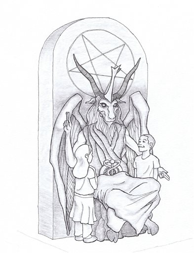 This artist's rendering provided by the Satanic Temple shows a proposed monument that the New York-based Satanic group wants to place at the Oklahoma state Capitol. The statue features a bearded, goat-headed demon sitting in a pentagram-adorned throne with children next to it. (AP Photo/Satanic Temple)