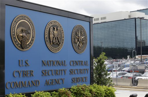 This June 6, 2013 file photo shows the sign outside the National Security Agency (NSA) campus in Fort Meade, Md. President Barack Obama is hosting a series of meetings this week with lawmakers, privacy advocates and intelligence officials as he nears a final decision on changes to the government's controversial surveillance programs.  (AP Photo/Patrick Semansky, File)