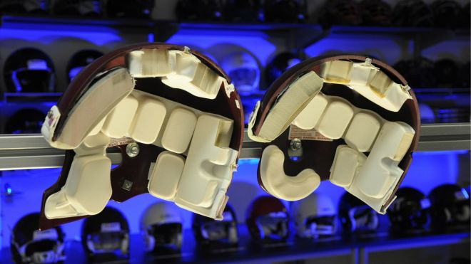 The ability of the Riddell Revolution (left) and the Riddell VSR4 (right) helmets to reduce concussion risk was compared in the study. A significant difference in concussion risk between these two helmet designs was found by the authors. (VIRGINIA TECH)