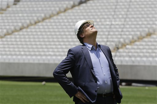 Jerome Valcke, Secretary General of FIFA is seen during an inspection tour of Arena de Sao Paulo stadium, in Sao Paulo, Brazil, Monday, Jan. 20, 2014.  (AP Photo/Nelson Antoine)