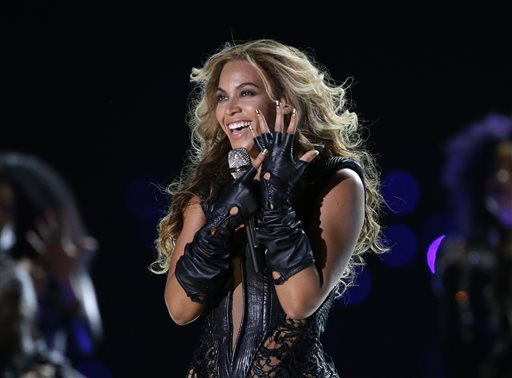 In this Feb. 3, 2013 file photo, Beyonce performs during the halftime show of  the NFL Super Bowl XLVII football game between the San Francisco 49ers and the Baltimore Ravens, in New Orleans. Beyonce and Jay Z share the top spot on Billboard's Power 100 list announced on Thursday, Jan. 23, 2014. (AP Photo/Mark Humphrey, File)
