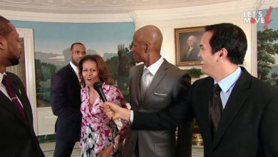 Photo of Michelle Obama Slam Dunks During Miami Heat Visit to the White House