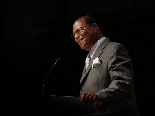 Nation of Islam leader Louis Farrakhan addresses a crowd of 18,000 at Joe Louis Arena on Sunday. (Photo: Romain Blanquart, Detroit Free Press)
