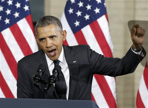 "President Barack Obama stresses a point while speaking at the Union Depot in St. Paul, Minn., Wednesday, Feb. 26, 2014, where he announced a new competition encouraging investments for job creation and infrastructure as part of his ""Year of Action."" (AP Photo/Jim Mone)"
