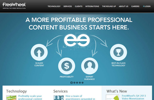 The home page for California-based FreeWheel , which Comcast is attempting to buy for $320 million.