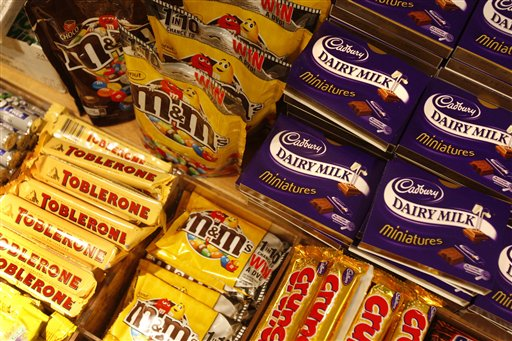 This is a Tuesday, Jan. 19, 2010  file photo of  chocolate bars on a shelf at a store in central London, Tuesday, Jan. 19, 2010. (AP Photo/Sang Tan. File)
