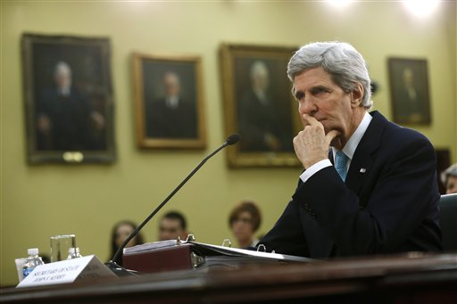 Secretary of State John Kerry pauses while testifying on Capitol Hill in Washington, Wednesday, March 12, 2014, before the House Appropriations subcommittee on State, Foreign Operations, and Related Programs Budget hearing. (AP Photo/Charles Dharapak)