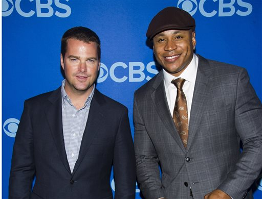 """This May 15, 2013 file photo shows Chris O' Donnell, left, and LL Cool J attending the CBS Upfront in New York. The pair will co-host the Academy of Country Music's annual television special """"ACM Presents: An All-Star Salute to the Troops"""" that will air on May 20 on CBS. (Photo by Charles Sykes/Invision/AP, File)"""