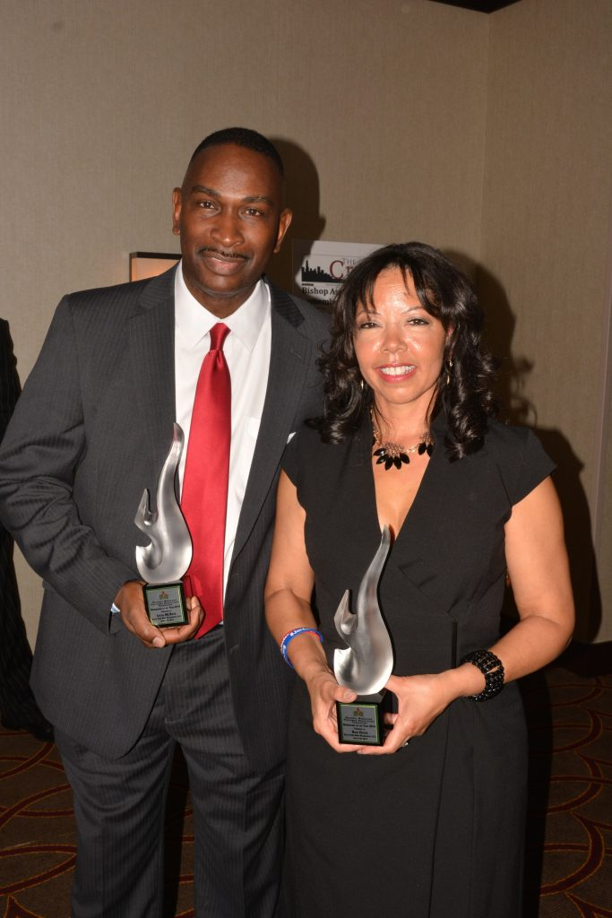 Ron Davis and Lucy McBath accepting NNPA Foundation awards. (NNPA Photo by Roy Lewis)