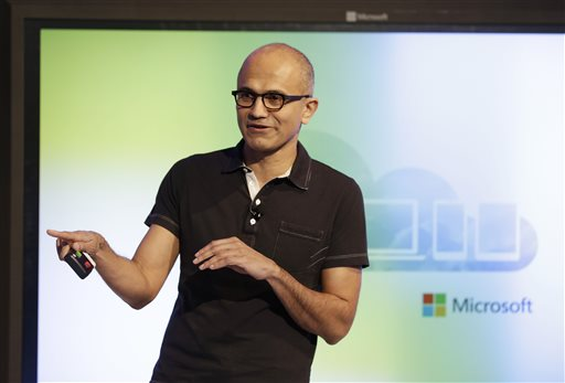 Microsoft CEO Satya Nadella gestures while speaking during a press briefing on the intersection of cloud and mobile computing Thursday, March 27, 2014, in San Francisco. Microsoft unveiled Office for the iPad, a software suite that includes programs such as Word, Excel and PowerPoint, and works on rival Apple Inc.'s hugely popular tablet computer. (AP Photo/Eric Risberg)