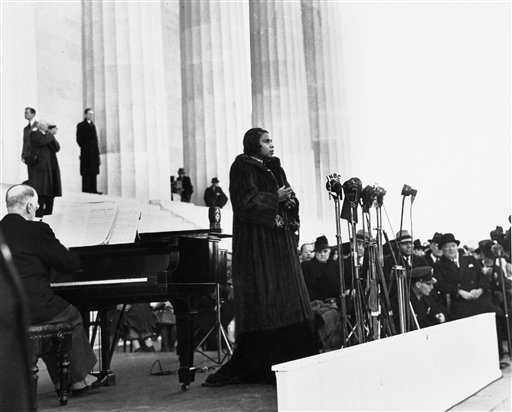This April 9, 1939 file photo shows singer Marian Anderson performing on the steps of Washington's Lincoln Memorial on Easter Sunday after she had been refused permission to perform in Washington's Constitution Hall by the hall's owners, the Daughters of the American Revolution.  (AP Photo, File)