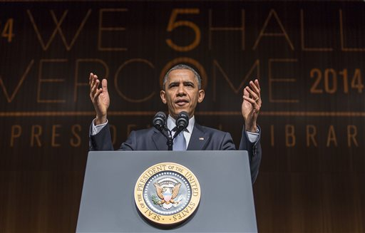 President Barack Obama gives a keynote address during the Civil Rights Summit on Thursday, April 10, 2014, in Austin, Texas.  (AP Photo/Austin American-Statesman, Ricardo B. Brazziell)
