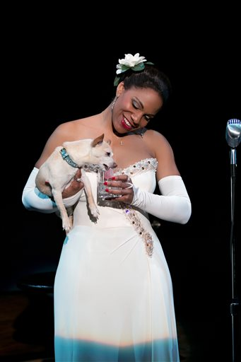 """This file photo provided by Jeffrey Richards Associates shows Audra McDonald as Billie Holiday in """"Lady Day at Emerson's Bar & Grill."""" McDonald on Tuesday, April 29, 2014 earned a Tony nomination for """"Lady Day at Emerson's Bar & Grill,"""" meaning she is in a position to make history as the Tonys' first grand-slam performance winner. (AP Photo/Jeffrey Richards Associates, Evgenia Eliseeva, File)"""