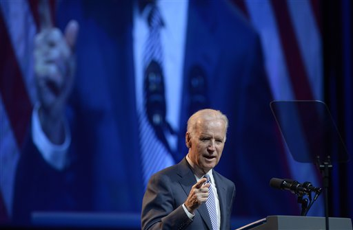 Vice President Biden speaks at the American Association of Community Colleges' 94th Annual Convention in Washington, Monday, April 7, 2014. (AP Photo/Susan Walsh)