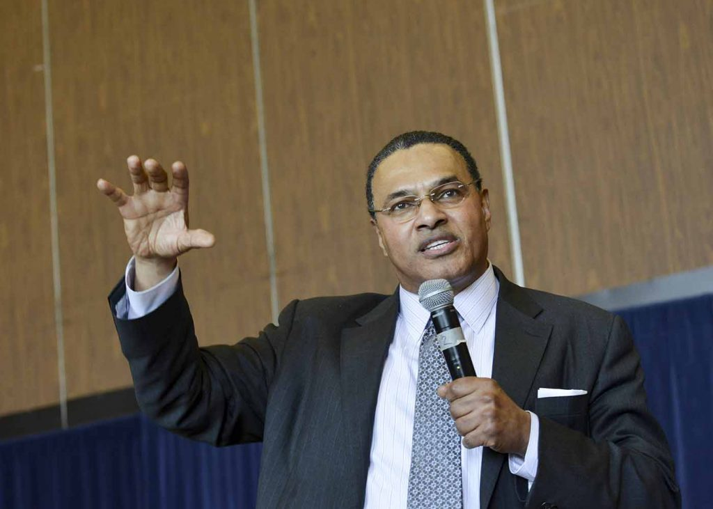 Freeman A. Hrabowski, III, president of the University of Maryland, Baltimore County, who also published research focused on science and math education and minority participation and performance speaks during a health care summit at Howard University in Washington, D.C. (Freddie Allen/NNPA)