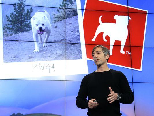 Zynga CEO Mark Pincus talks at Zynga headquarters in San Francisco in June. (Paul Sakuma/AP file)