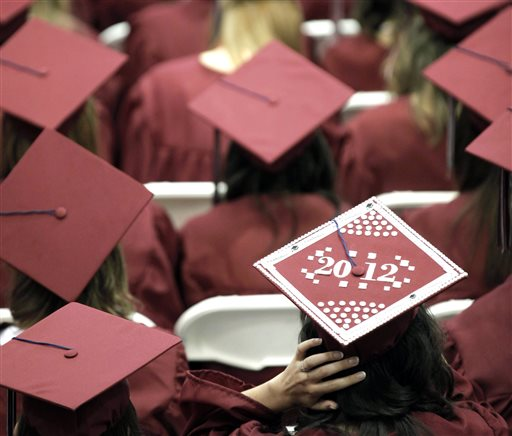 In this May 21, 2012, file photo, graduates from Joplin High School listen to speakers during commencement ceremonies in Joplin, Mo. U.S. public high schools have reached a milestone, an 80 percent graduation rate. Yet that still means 1 of every 5 students walks away without a diploma. Citing the progress, researchers are projecting a 90 percent national graduation rate by 2020. (AP Photo/Charlie Riedel, File)