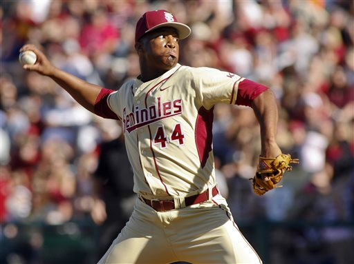 In this March 2, 2014, file photo, Florida State relief pitcher Jameis Winston sits in the dugout in the sixth inning of an NCAA collegebaseballgame against Miami in Tallahassee, Fla. The Florida State baseball team has indefinitely suspended Heisman Trophy winner Jameis Winston, who is a relief pitcher for the Seminoles. Baseball coach Mike Martin said in a statement Wednesday, April 30, 2014, that Winston was issued a citation the night before, but he did not give specifics. The Leon County Sheriff's Office has declined comment. (AP Photo/Phil Sears, File)