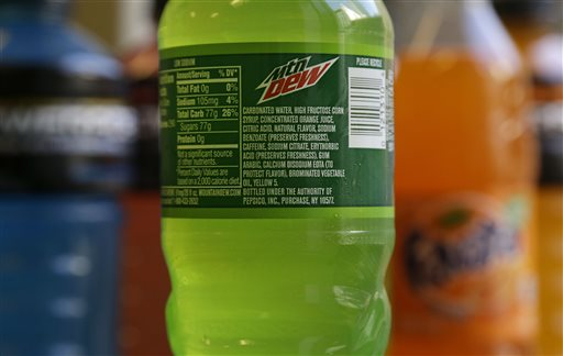 The ingredients on a bottle of Mountain Dew are photographed in San Francisco, Monday, May 5, 2014. Coca-Cola said on Monday it will drop brominated vegetable oil from all its drinks that contain it, not just Powerade. The Atlanta-based company says the controversial ingredient is still being used in some flavors of Fanta and Fresca, as well as several citrus-flavored fountain drinks. (AP Photo/Jeff Chiu)