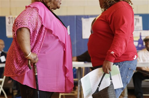 In this file photo dated Tuesday, June 26, 2012, two overweight women hold a conversation in New York, USA. Almost a third of the world population is now fat, and no country has been able to curb obesity rates in the last three decades, according to a new global analysis released Thursday May 29, 2014, led by Christopher Murray of the Institute for Health Metrics and Evaluation at the University of Washington, USA, and paid for by the Bill & Melinda Gates Foundation.  Researchers reviewed more than 1,700 studies covering 188 countries covering over three decades and found more than 2 billion people worldwide classified as overweight or obese. The highest rates of obesity were found in the Middle East and North Africa, with the U.S. having about 13 percent of the world's fat population.  (AP Photo/Mark Lennihan, FILE)
