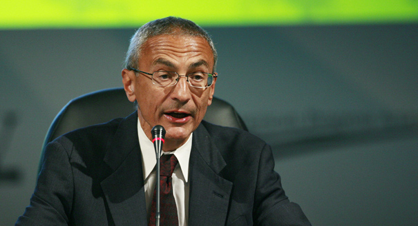 John Podesta speaks at the National Clean Energy Summit 2.0, Monday Aug. 10, 2009 at The Cox Pavillion in Las Vegas. (AP Photo/Eric Jamison)