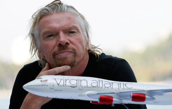 Richard Branson, president of Virgin Atlantic Airways, is shown at a news conference. (AP Photo)