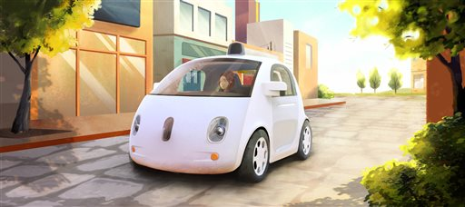 This image provided by Google shows an artistic rendering of the company's self-driving car. The two-seater won't be sold publicly, but Google on Tuesday, May 27, 2014 said it hopes by this time next year, 100 prototypes will be on public roads. (AP Photo/Google)